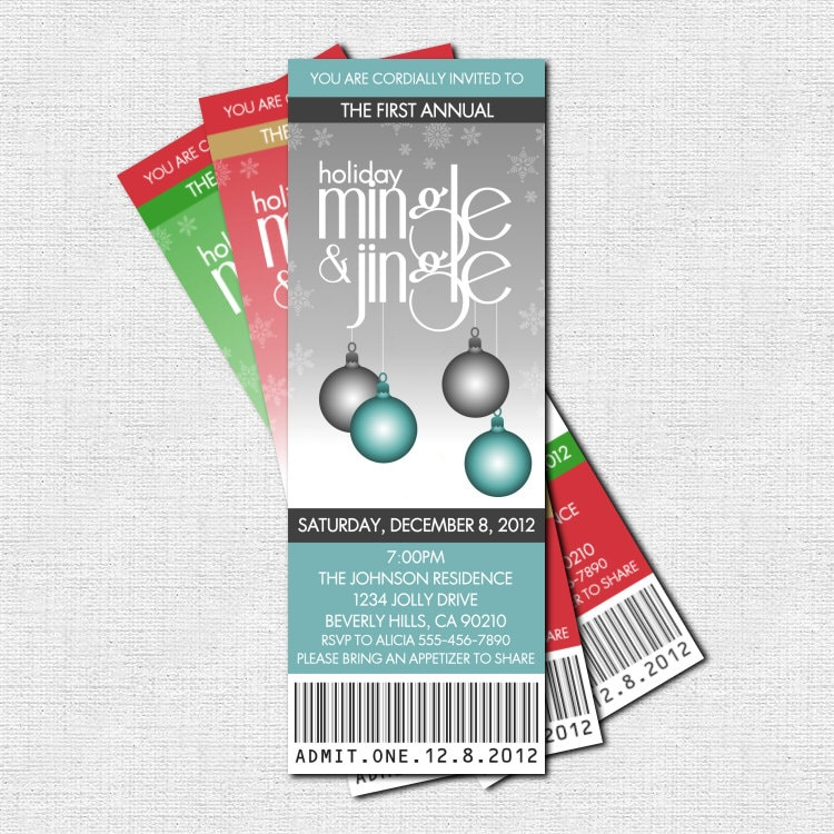 HOLIDAY PARTY Ticket Invitations Christmas Mingle and Jingle