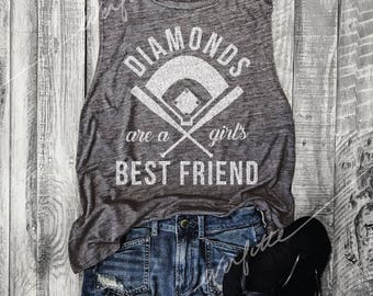 DIAMONDS Are A Girl's Best Friend, Baseball Muscle Tee in Asphalt/White Workout Top, Muscle Tank, Baseball Mom,Hit and Steal,Baseball Shirt