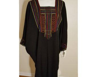Black and multicolored vintage caftan