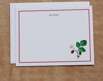 Sweet Strawberry Strawberries Fraises des Bois Custom Notecard. Thank You, Any Occasion, Personalize Watercolor Print, Set of 10.