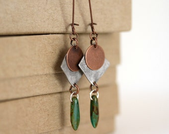 Mixed Metal Silver and Copper Dangling Turquoise Czech Glass Dagger Bead Earrings