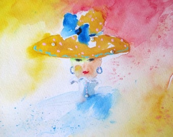 Oginal Watercolor Painting * Lady With Large Hat * Crystals * Small Art Formant By Rodriguez