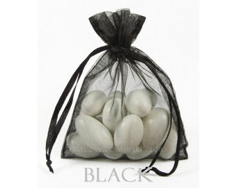 10 Black Organza Bags, 20x21 Inch Sheer Fabric Favor Bags