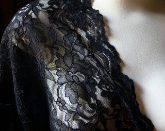 BLACK Alencon Lace Fabric for GRAD, Garments, Bridal, Skirts, Evening Wear