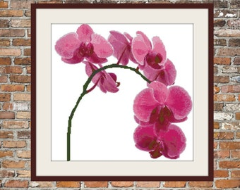Pink Orchids - Counted Cross Stitch Pattern