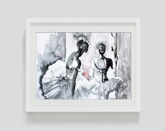 Ballerina watercolor art print. Wall art, wall decor, digital print.