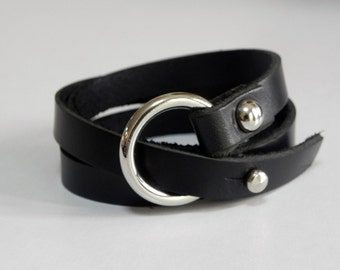 Leather Bracelet Wrap Leather Bracelet with Silver Tone O Ring in Black Color
