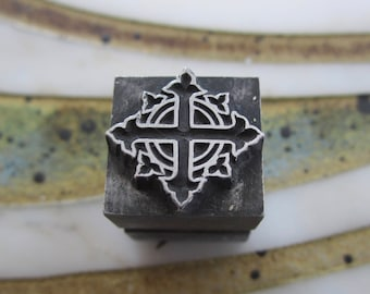 Vintage Letterpress Printers Block Celtic Cross