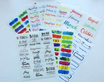 2017 Planner / Bullet Journal Sticker Kit - Hand Lettered Water Color Calligraphy Clear Stickers Transparent Glossy White Write On Borders