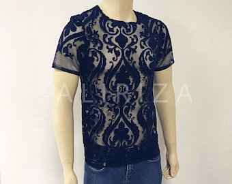 Velvet Embroidered Lace T-Shirt