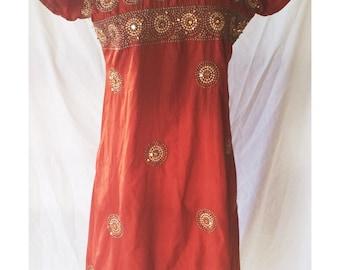 Vintage Handmade Dark Orange Banjara Kuchi Indian Dress