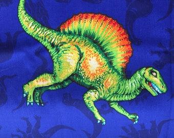 2 Yards Cotton Dinosaur Fabric Vintage Cranston Printed in USA