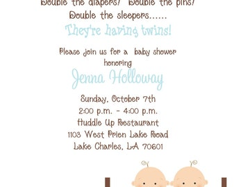 10  Twin Boy Baby Shower Laundry Invitations with Envelopes.  Free Return Address Labels