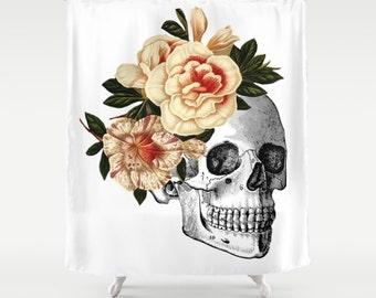Skull Shower Curtain, Day of the Dead Shower Curtain, Dia De Los Muertos Bathroom, Floral Rose Bath Decor, Vintage Illustration, Human Skull