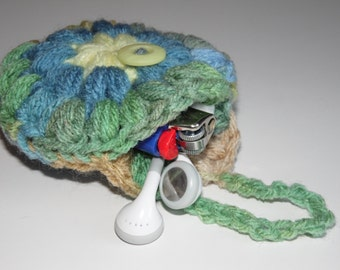 Headphones case, Puff Pocket, Purse pocket, Stash bag, Sea Grass & Blue,  earphone bag, earbuds pouch, iPod accessories