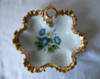 Porcelain Ruffled Gold Edge Handled Candy Dish with Morning Glory Flowers