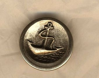 Vintage button, button anchor, silver, marine theme, french vintage button 25 mm button collection
