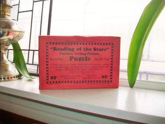 Vintage Fortune Telling Puzzle Pisces Zodiac Sign 1933 Unused