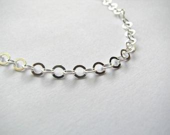 Bulk Sterling Silver 4mm Flat Round Cable Link Chain by the Foot - 20 Feet