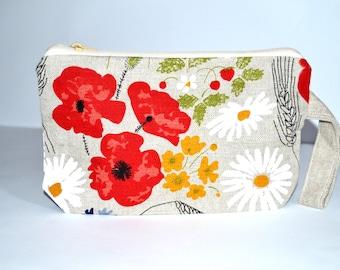Wristlet pouch - FLOWERS - Material Natural linen