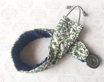 Padded Stethoscope Cover, Sleeve, Slipcover, Nurse, Doctor, Veterinarian, EMT, Nursing Student, Medical Assistant - Green Scroll with Navy