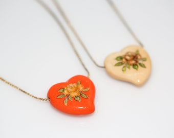 Hand Painted Heart Necklaces