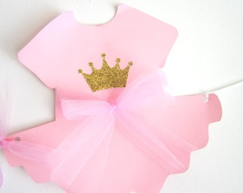 PRINCESS BANNER, Princess Baby Shower Banner, Princess Baby Shower, Princess Birthday Banner, Pink and Gold Banner - Tutu Onesie