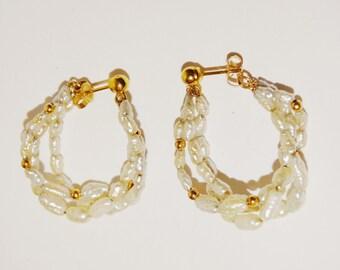 Vintage 14k Stamped 1-1/4 Diameter  Pearl Hoop Earrings.