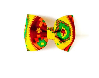 Red and yellow dog bow tie, red orange and gold southwest bow, red green and yellow cat bow, western girl collar flower, yellow flower