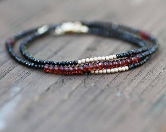 Natural Black Spinel and Garnet Wrap Bracelet Necklace 14k Gold Filled , January Birthstone , 2nd Anniversary , Healing Gem , From Canada