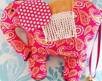 Elephant door stop, animal door stop, home decor, elephant gift idea, elephant lovers gift, gift for friend, new home gift, elephant textile