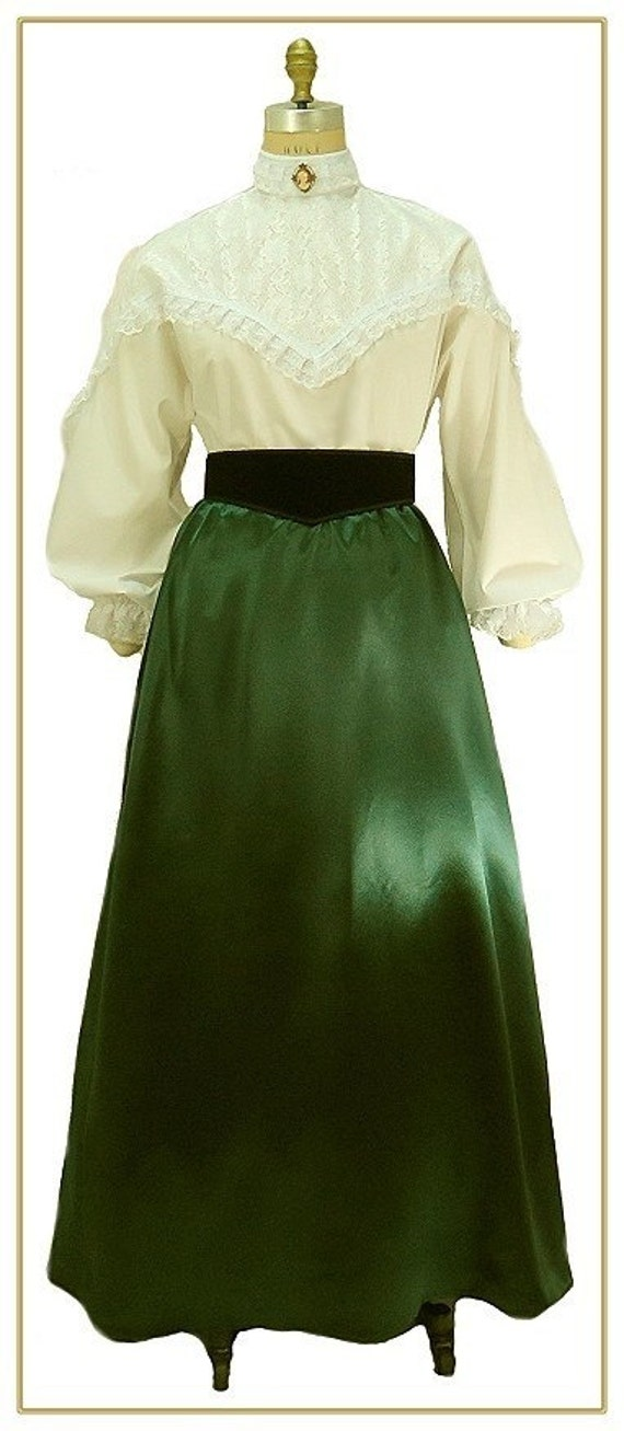 Victorian Dresses | Victorian Ballgowns | Victorian Clothing 1890s Victorian Emerald Satin Skirt $59.00 AT vintagedancer.com
