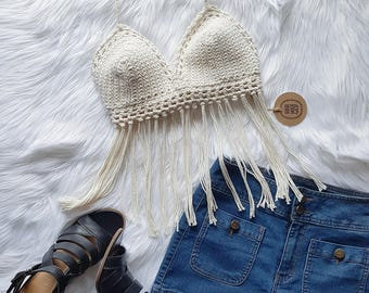 Crochet Summer Top, Festival Top, Boho Halter Top, Beach Crop Top, Size Medium (B-C Cup)