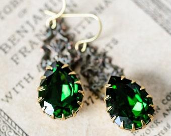 Filigree Earrings Moss Green Antique Style Jewelry Vintage Style Jewelry Swarovski Crystal, Retro Jewelry, Sparkly Earrings, Dangle Earrings