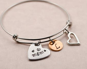 Personalized Gift for Mom - Custom Engraved Charm Bracelet - Bangle - Initial Hearts - Birthday Gift for Mother - Custom Mother's Day Gift