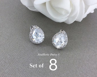 Set of 8 Stud Earrings CZ Earrings Wedding Earrings Bridesmaid Earrings White Crystal Teardrop Gift for Her Bridesmaid Jewelry Gift
