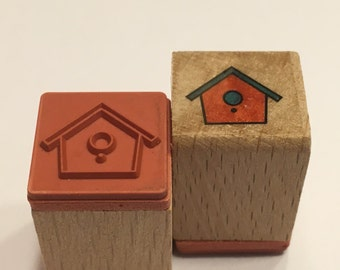 small bird house stamp , 15 mm (SB2)