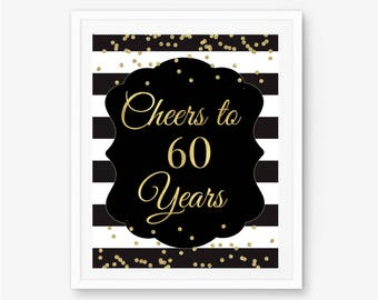Cheers to 60 years, 60th birthday sign, 60th birthday poster, 60th birthday decor, cheers banner, happy 60th, 60th bday, 60th birthday