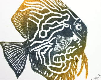 The Discus fish, original linocut print, signed and numbered, yellow and payne's grey, unframed