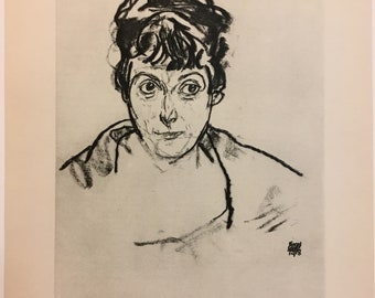 "Egon Schiele ""Portrait of a Lady"" from Egon Schiele-As a Draughtman by Otto Denesch, 1950, 9.25 x 13.5 inches"