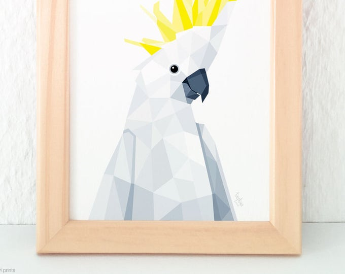Sulphur-crested Cockatoo wall print, Australian bird art, Australian parrot print, White and yellow print, Australian home decor, A2 art