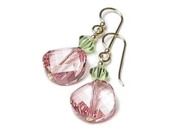 Peppermint Twist Pink Green Swarovski Crystal Earrings 14K Gold Filled Rose Twist Drop Peridot Spring Jewelry For Women Mother's Day Gifts