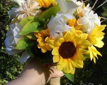 Bride Bouquet, Sunflower Wedding, Burlap Wrap Sunflower Silk Calla Bridal Bouquet, Rustic Woodland Wedding, FFT original, Made to Order