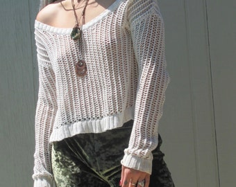 White Loose Knit Sweater Top Off Shoulder Womens