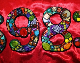 CUSTOM Made Mixed Media Mosaic House Numbers - Wild & Funky Colors and Shapes (These are color examples only)