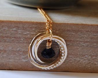 6 Ring Sapphire Necklace, September Birthday Gift, Sapphire Gemstone, 60th Birthday Necklace, 6 Rings Necklace, Blue Gemstone, Gift for Mom