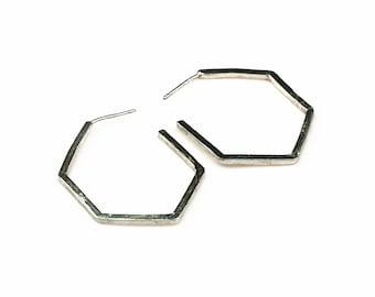 Sterling Silver Geometric Earrings, Geometric Statement Earrings, Silver Hexagon Earrings,Sterling Silver Hoop Earrings Medium,Hexagon Hoops