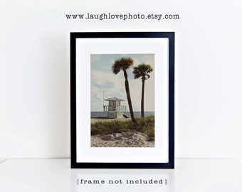 Lifeguard Photo, Palm Tree Beach Photography, Florida Travel Art, Tropical Coastal House Decor, Nautical Home Decor Vertical Wall Art Print