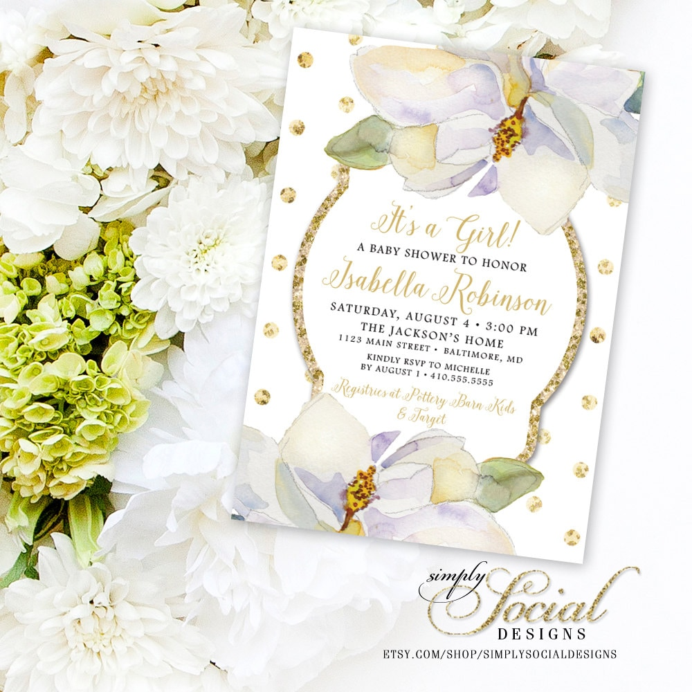 Magnolia Baby Shower Invite - Flowers White flowers and Gold Polka ...