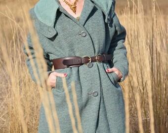 1950s/1960s Teal Blue Wool Swing Coat Size MEDIUM